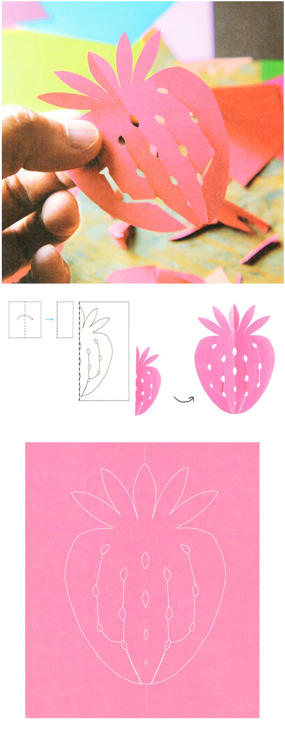 strawberry paper cutting instruction