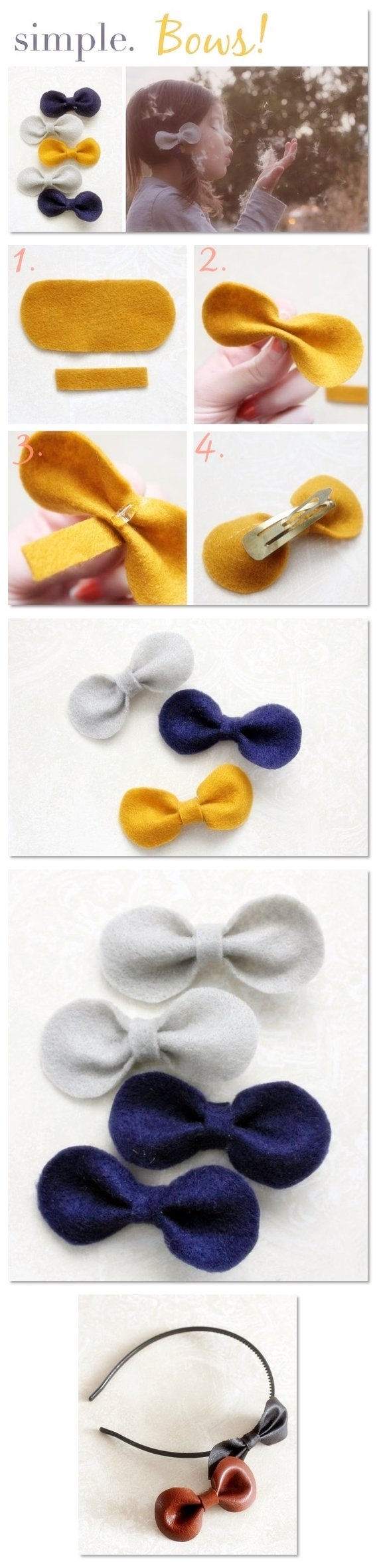 How To Make Hand Made Felt Bows DIY Step By Tutorial Instruction
