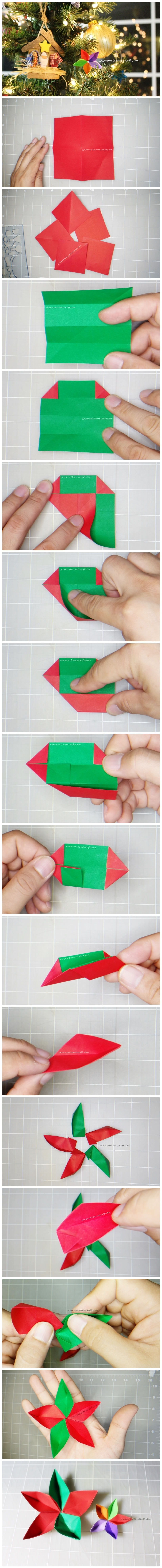 How To Make Christmas Flower Poinsettias Ornament Origami Instructions