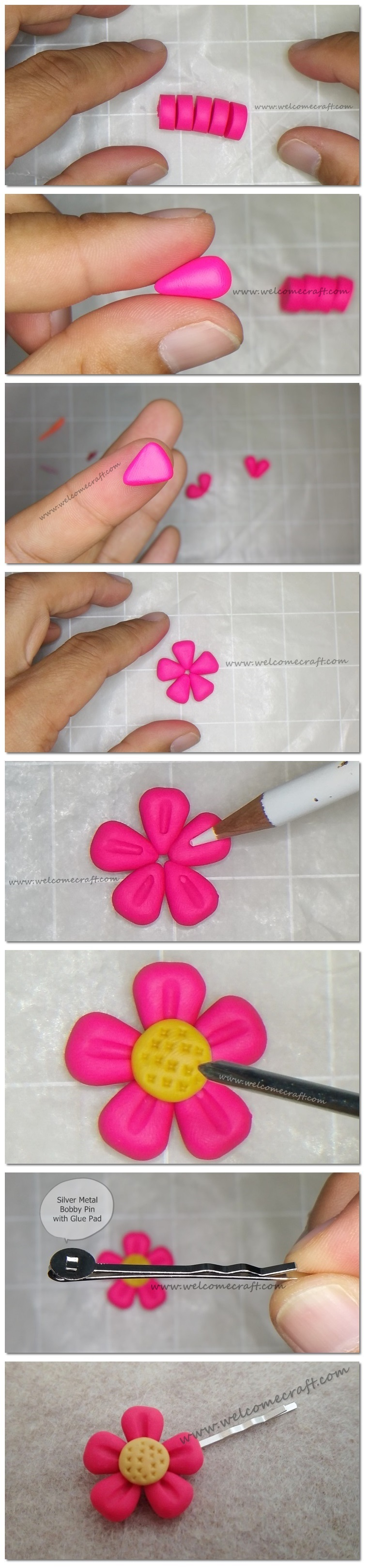Polymer Clay Flower Pin Instruction