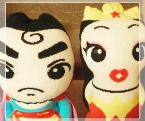 Socks Doll Super Man and Wonder Woman