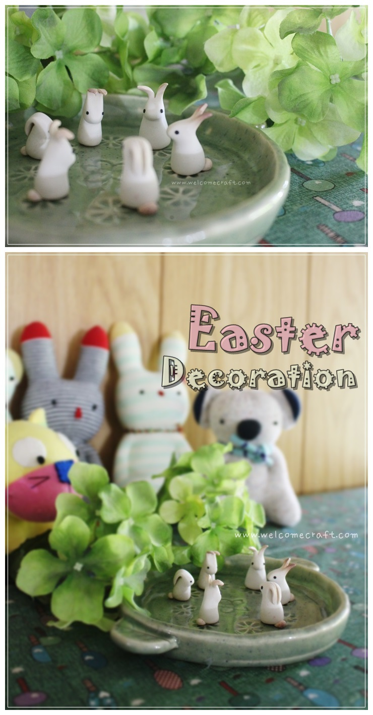 Clay Easter Bunnies Deco