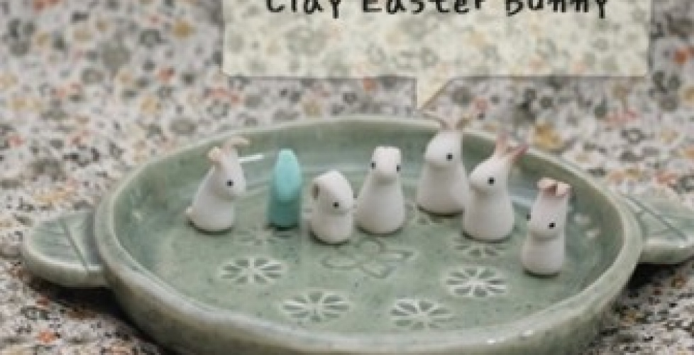 DIY step by step tutorial Clay Easter Bunnies Instruction