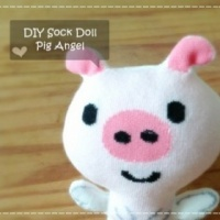 Hand Made Sock Doll Pig Angel