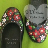 How to make Acrylic painted shoes DIY step by step tutorial instruction
