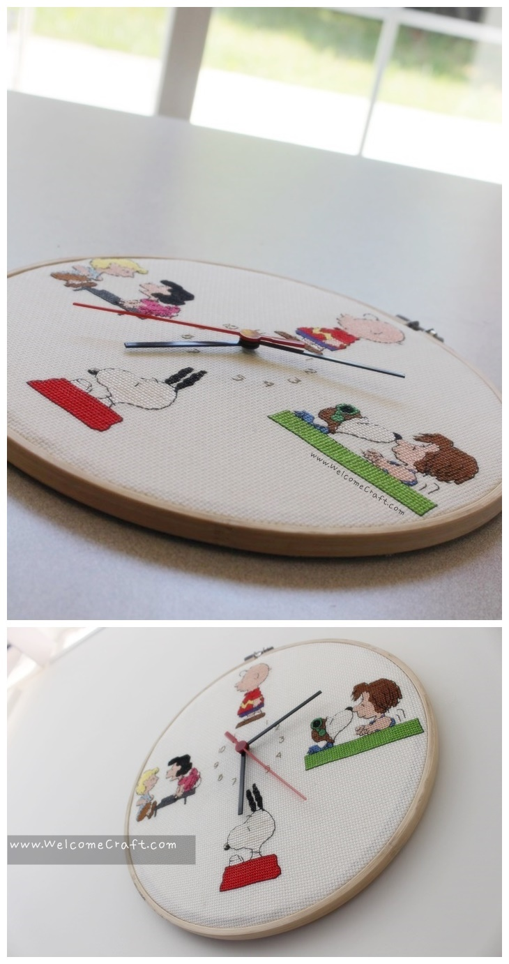 Hand Made Snoopy Cross Stitch Clock