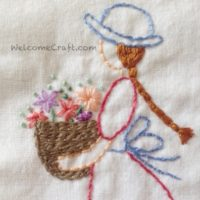 Hand Made Embroidery Flower Girl