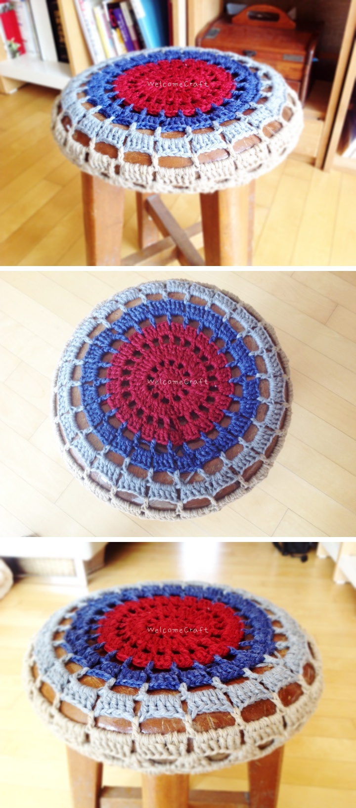 Hand Made Crochet Stool Cover