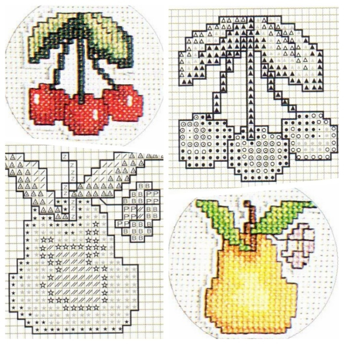 Cherry and Pear Cross Stitch and Patterns