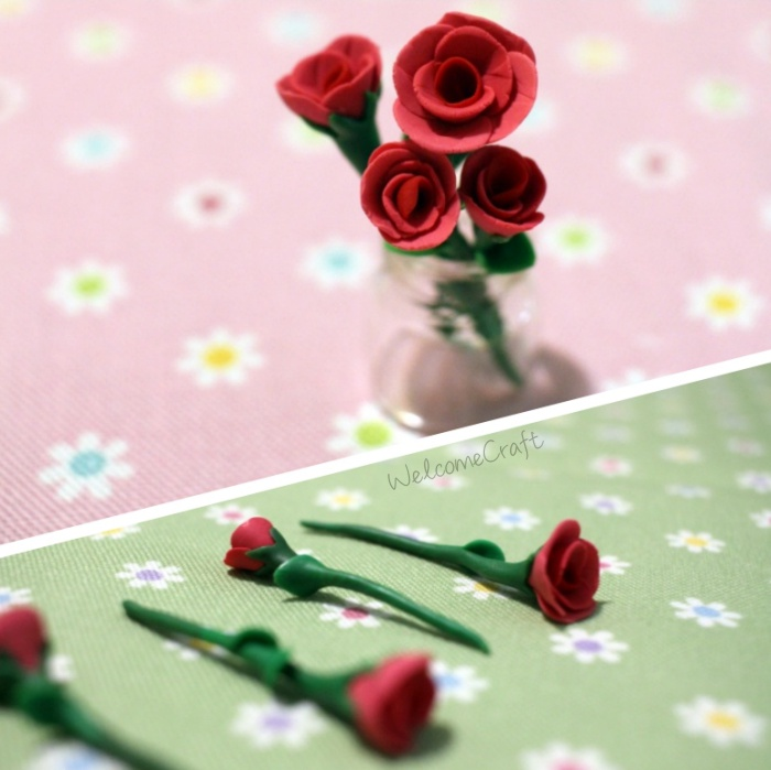 Hand Made Clay Miniature Red Rose Step By Step Tutorial Instruction