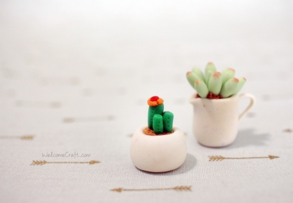 Hand made clay cactus