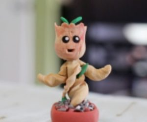 Handmade Clay Miniature Groot
