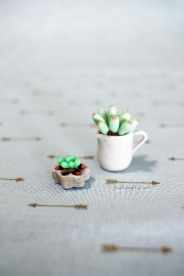 Handmade Polymer Clay Green Succulent Plant