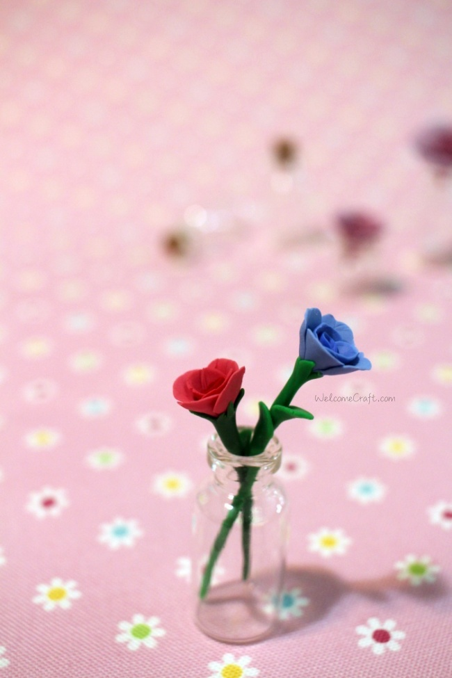 Handmade Polymer Clay Miniature Blue Rose