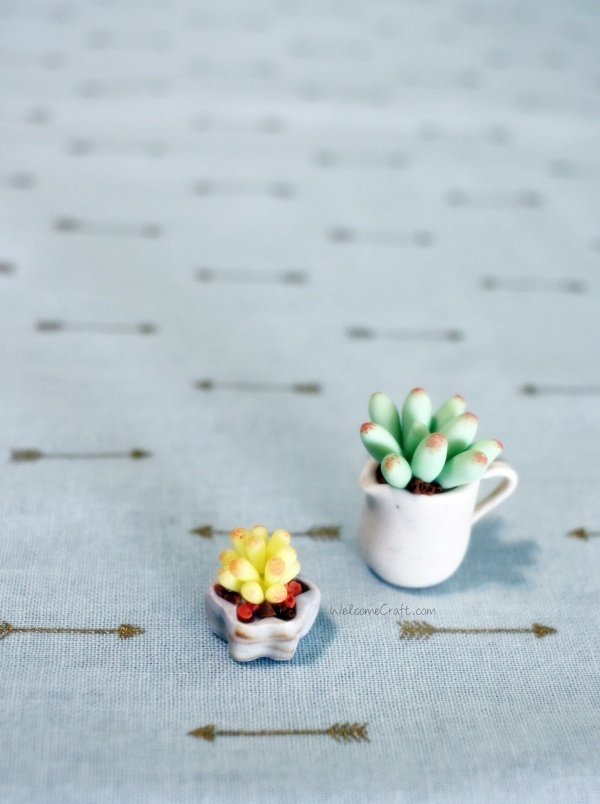 Handmade Polymer Clay Miniature Yellow Succulent Plants