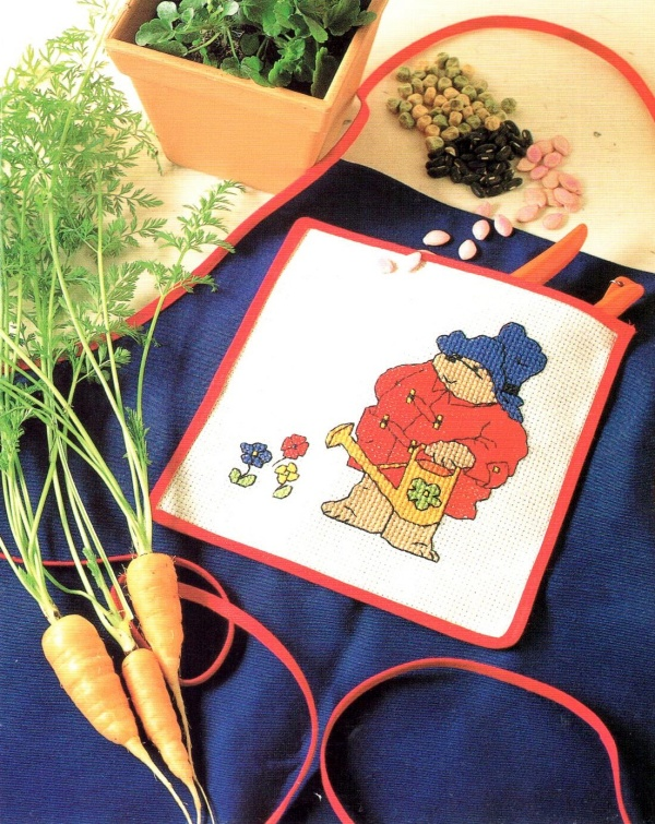 Handmade Cross Stitch Paddington Apron and Pattern