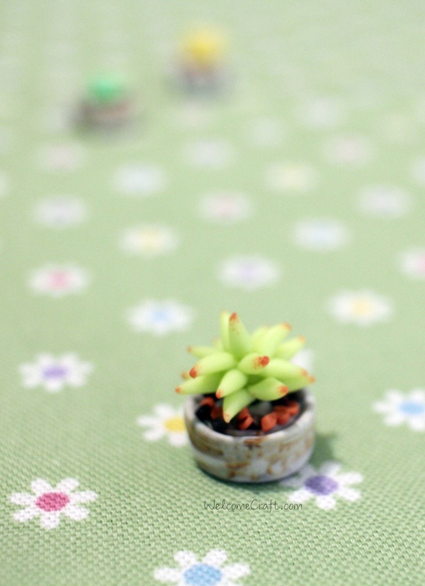 Handmade Polymer Clay Miniature Succulent Plants
